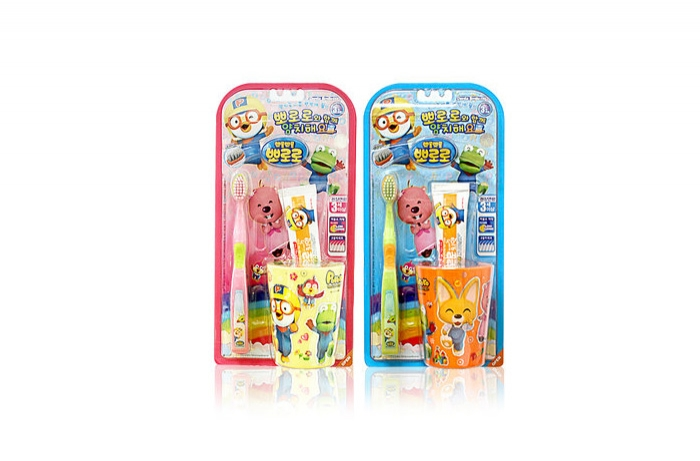 PORORO brushing teeth cup SET (brush 1p + cup 1 + mini toothpaste 1)PORORO