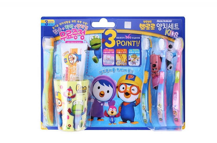 PORORO brushing teeth cup SET (brush 4p + cup 1 + toothpaste 1 )PORORO